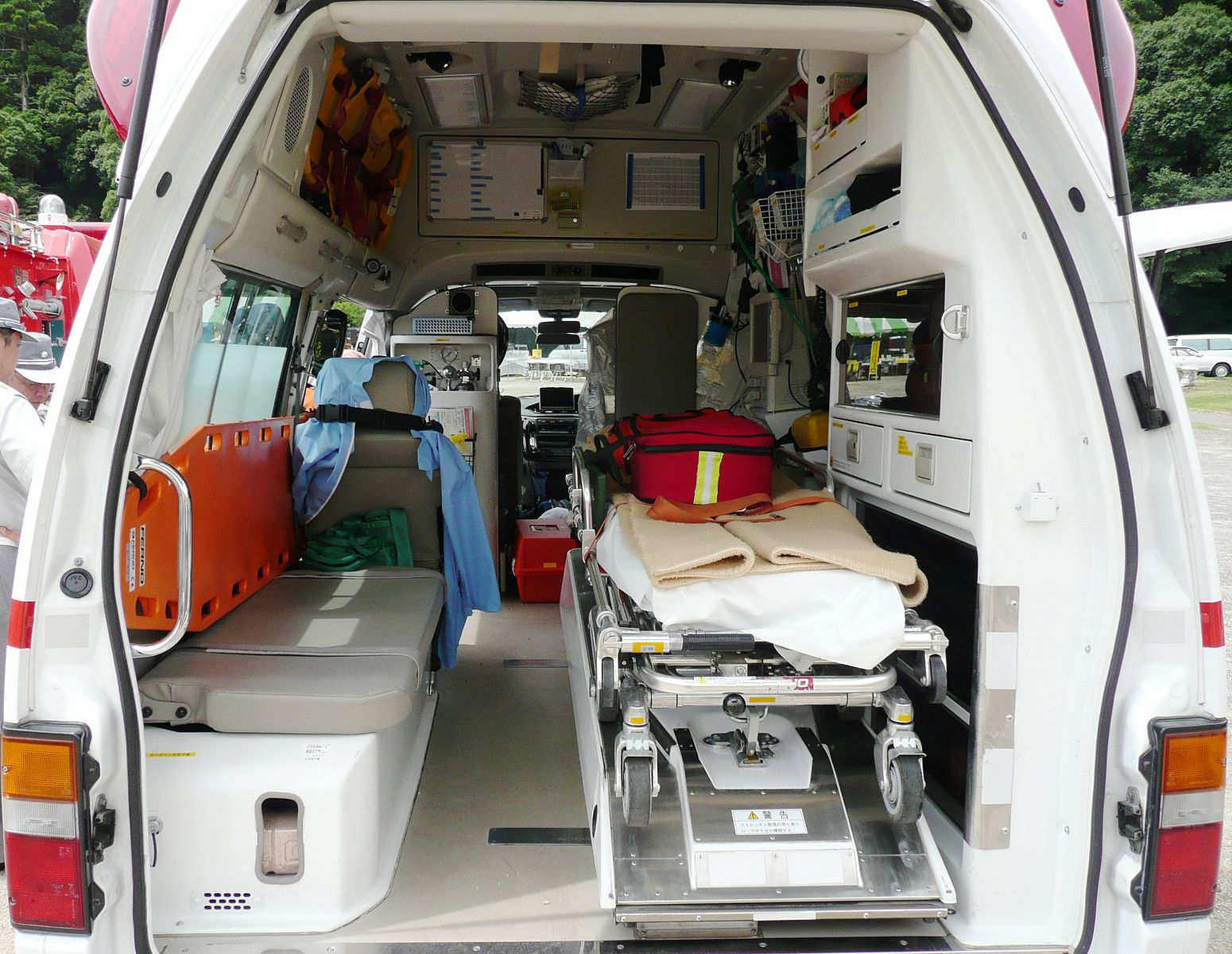 The inside of an ambulance.